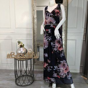 Floral Pink Purple Formal Evening Dress Gown